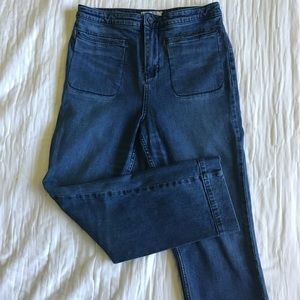 Free People straight leg cropped denim EUC